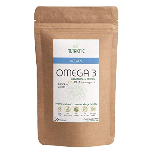 Vegan Omega 3 DHA – Organically Grown – Supplement from Algae Oil – Sustainable Alternative to Fish Oil – Vegetarian Essential Fatty Acids – 1-2 Months Supply Nutrienic