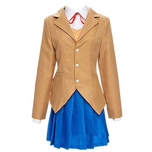 CHANGL 5PCS / Set Cosplay Kostüm Halloween Karneval Doki Doki Literaturclub Monika JK Tägliche Schuluniform Kleid Süße Rockanzüge mit Zubehör von hoher Qualität
