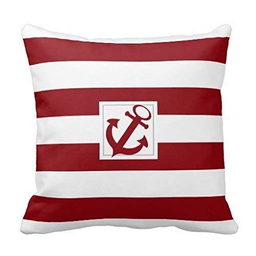 N / A Funda de cojín decorativa de algodón a rayas rojas y blancas con funda de ancla con cierre de cremallera oculta (para salón, sofá, etc.).