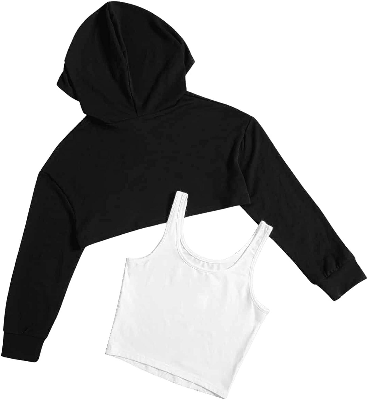 SweatyRocks Women's 2 Piece Outfits Long Sleeve Super Crop Hoodie and Tank Top Set