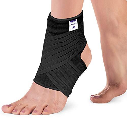 Actesso Elastische Knöchel Bandage - Sprunggelenk mit Wickelband. Die Ultimative Fussbandage für zerrungen, verstauchungen und Sport (Schwarz, Groß (25-28 cm))