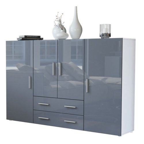 Vladon Highboard Sideboard Nora, Korpus in Weiß matt/Front in Grau Hochglanz