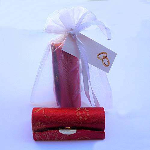Detalles y Recuerdos de Boda Para Invitados. Pack 20 Porta pintalabios con Espejo, Bolsa de organza y Tarjeta.