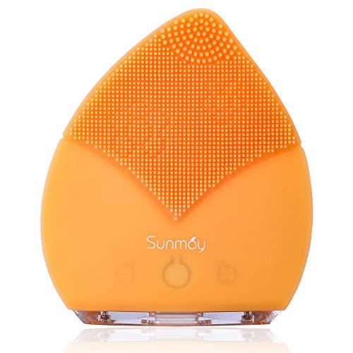 【Sunmay Leaf】SUNMAY Cepillo Limpiador Facial Sónico, Cepillo facial Recargable de Silicona con Función de Memoria Limpiador Facial para todos los tipos de piel(Versión mejorada) - Naranja