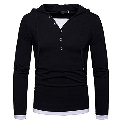 T-Shirt Herren Hoodie Herren Sport Freizeit Bequeme Gefälschte Zweiteilige Langärmelige Frühling Und Herbst Elegante Gentleman Boutique Herren Pullovers C-Black S