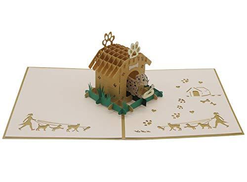 Smiling Art Pop Up 3D Karten, Glückwunschkarten inklusive Umschlag und Schutzhülle, handgearbeitet, handgefertigt, Geschenkkarte für Gutschein, Einladungskarte, Geburtstagkarte (Tier, Hund)