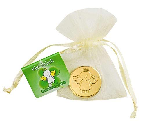 EnerChrom Schutzengel Glücksmünze - Viel Glück - Engel Smiling Paul - 1 Stück - Farbe Gold - Glücksbringer Talisman