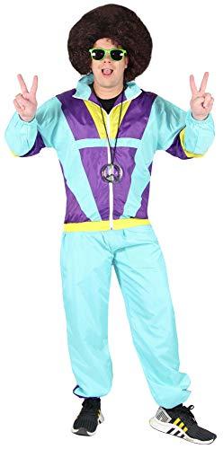 Bad Taste 80er Jahre Kostüm Trainingsanzug für Herren Jogginganzug - grün lila gelb - Größe S-XXXXL, Größe:XXXL