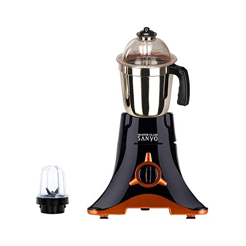 Masterclass Sanyo 600 Watts Starblack Mixer Grinder with 2 Jar (1 Large Steel Jar, 1 Small Bullet Jar) Made in India. (ISI Certified)