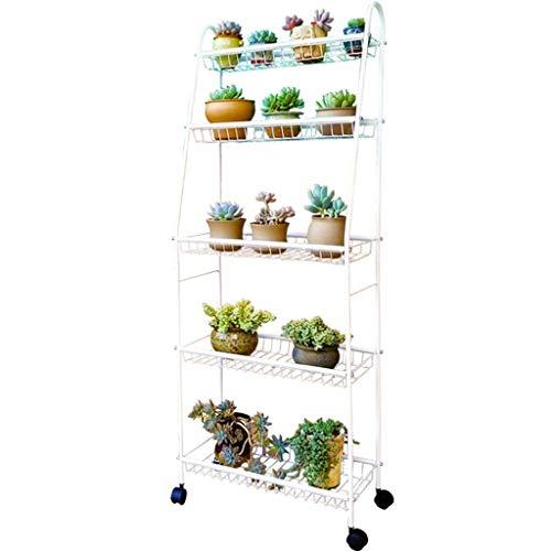 Gfbyq Balkon fleischige Blume Rack mehrschichtige Boden schmiedeeisen Blume Stehen Wohnzimmer innen bewegliches Rad (Farbe : Weiß)