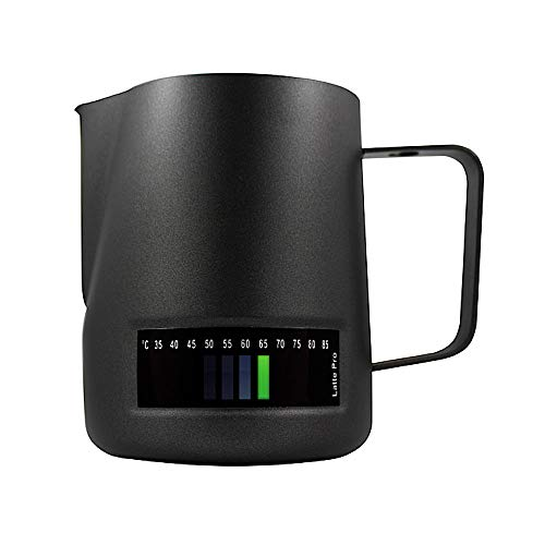 ANDRONICAS world of coffee Milk Jug Latte Pro Black Temperature Control Milk Texturing Jug with Thermometer & 3 Colour Indicator Buttons 600 ML - Milk Frothing Pitcher For Milk Steaming