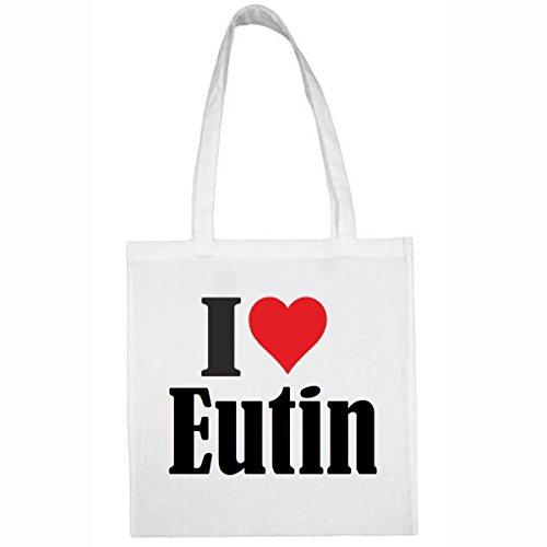 Tasche I Love Eutin Größe 38x42 Farbe Weiss Druck Schwarz