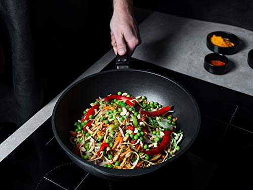 AMT - Sartén wok (hierro fundido, 32 cm), color negro