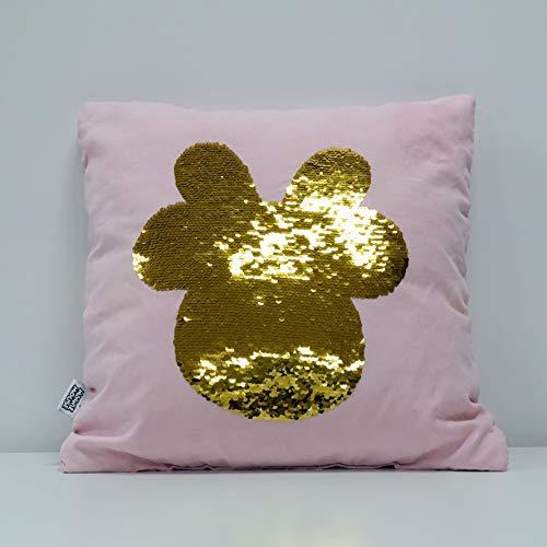 Disney kussen Minnie roze met pailletten, omkeerbaar, kleuren: goud en zilver, 100% polyester, 40 x 40 cm