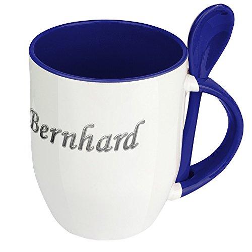 digital print Namenstasse Bernhard - Löffel-Tasse mit Namens-Motiv Chrom-Schriftzug - Becher, Kaffeetasse, Kaffeebecher, Mug - Blau