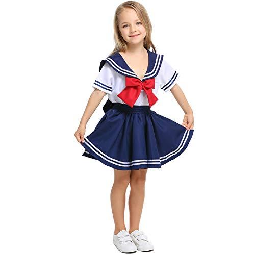 LOLANTA Traje de Marinero para niños,Uniforme de Colegiala Japonesa,Disfraz de Cosplay de Anime de Carnaval de Halloween