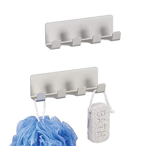 mDesign 2er-Set AFFIXX Hakenleiste –je 4 selbstklebende Badezimmerhaken für Rasierer, Schwämme etc.– aus rostfreiem Aluminium – praktische Haken ohne Bohren – silber