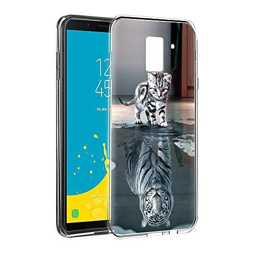 Zhuofan Plus Coque Samsung Galaxy J6 2018, Silicone Transparente avec Motif Design Antichoc Housse de Protection TPU 360 Bumper Souple Case Cover pour Samsung J6 2018 5,6 Pouces, Katzentiger