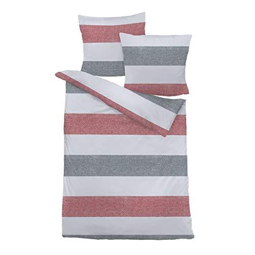 Traumschlaf Bettwäsche Biber Streifen rot 1 Bettbezug 240 x 220 cm + 2 Kissenbezüge 80 x 80 cm