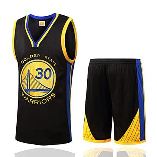 Herren-Basketball-Trikot 2-teilig 30#Curry,Partytauglich,Fan-Trikots,bestickte Mannschaftsuniform,Atmungsaktiv, schnelltrocknend,SCHWARZ S-XXXL