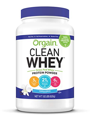 Orgain Grass Fed Clean Whey Protein Powder, Vanilla Bean - Low Net Carbs, Gluten Free, Soy Free, No Sugar Added, Kosher, Non-GMO, 1.82 Pound (Packaging May Vary)