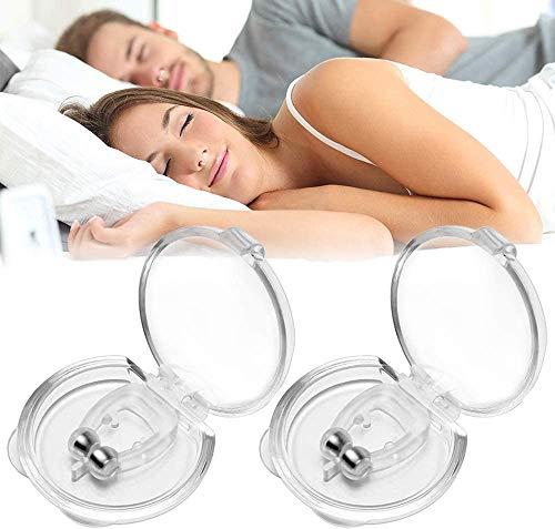 Schnarchstopper, 2 pcs Anti Schnarch Nasenclip - Schwaches magnetisches Silikon Material, Verbessern Sie die Schlafqualität und verhindern Sie intermittierende Apnoe (Transparent)