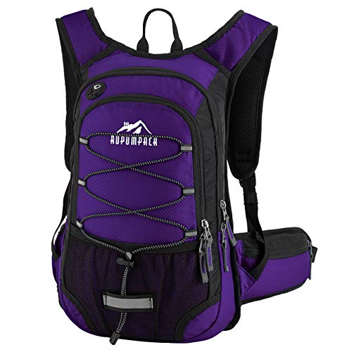 RUPUMPACK Insulated Small Hydration Backpack Pack with BPA Free 2L Water Bladder for Men Women Kids, Fit Outdoor Gear for Hiking, Running, Cycling, Camping, Skiing, 15L (Purple)