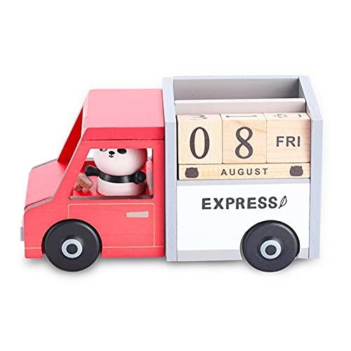 LZL Calendario de Escritorio Panda de Madera Panda Coche Perpetuo Calendario Boys Girls Children Mini Desktop Block Calendar Regalos para la decoración del hogar