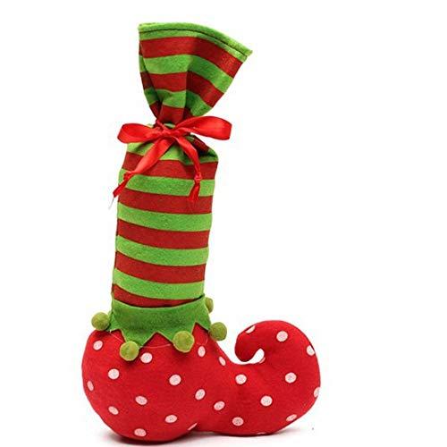 BDwantan Weihnachten Welle Striped Weinflasche Tasche * 2 Weihnachten Gestreifte Geschenk-Beutel Weihnachts Stuhl Fuß Abdeckung Tisch Fuß-Abdeckung 20 * 35 (cm)
