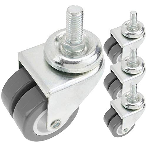 PrimeMatik - Rueda Doble pivotante Industrial de PU y PVC Transparente sin Freno 50 mm M12 4 Pack