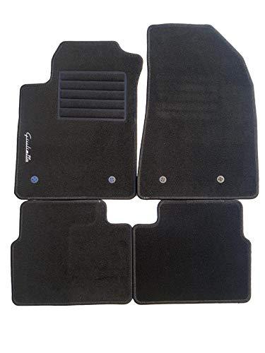 AV Lot de 4 tapis de voiture sur mesure en moquette avec logo et kit de fixation antidérapant