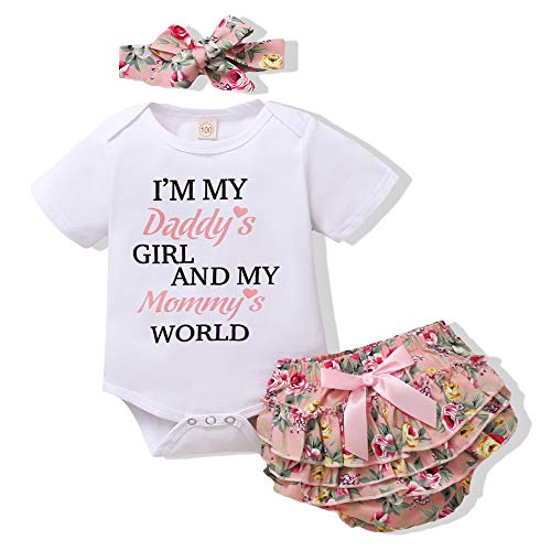 Renotemy Newborn Girl Clothes Outfits Ruffle Short Sleeve Tops + Floral Pants Sets Spring Summer Summer Baby Girl Clothes 3-6 Months