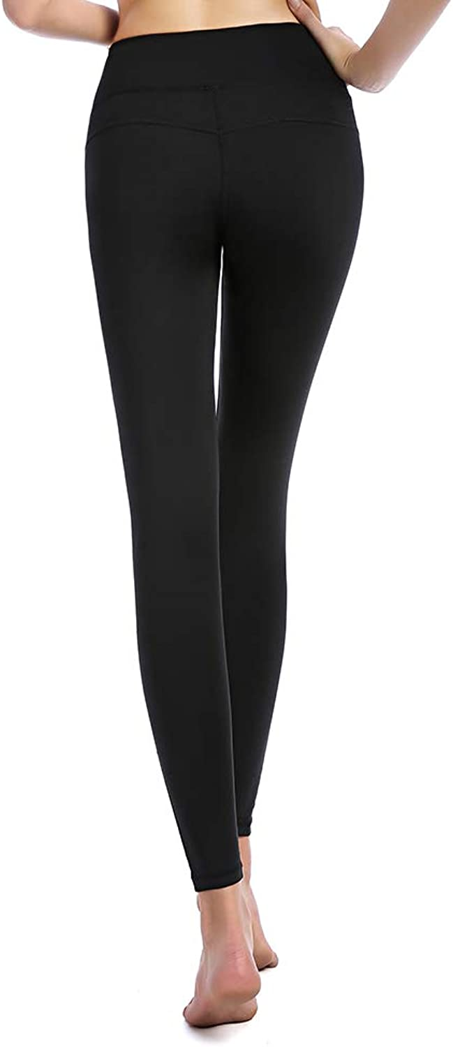 EMONDER Women's Yoga Pants Running Inner Pocket Workout Leggings Tights (Black, M)