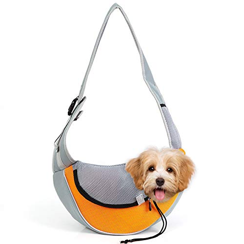 Vejaoo Mochila de Perros Gatos Portador Bolsa para Mascotas Bolsa de Transporte Suave y Cómoda XZ029 (M, Orange)