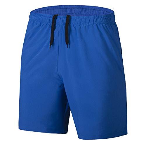Herren Sport Shorts Schnell Trocknend Kurze Hosen mit Reißverschlusstaschen (Blau L)