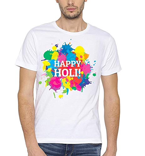 Double F Branded Round Neck Half Sleeve White Color Happy Holi Printed T-Shirts