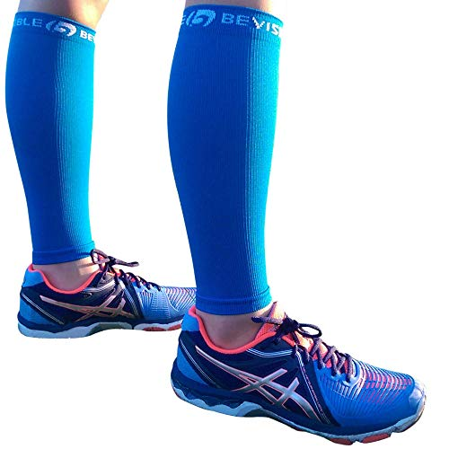 BeVisible Sports Calf Compression Sleeve Footless Leg Compression Socks for Men & Women Use for Shin Splints, Running, Cycling, Travel, Circulation & Support - 1 Pair (Electric Blue, Small-Medium)