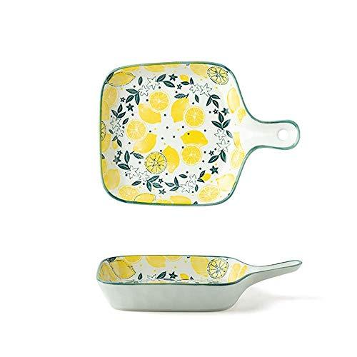 DAQ Utensilios para Hornear Plato de cerámica de Color bajo vidriado de 8.5 Pulgadas con asa Plato Cuadrado Plato de Frutas para el Desayuno en el hogar Utensilios para Hornear para Horno (C3, 22x15.