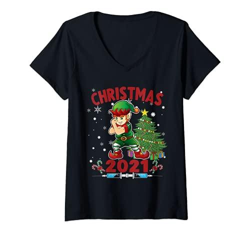Mujer Divertida Navidad - Elfo Vacunado Camiseta Cuello V
