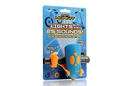 Hornit Mini Bleu et Orange - Klaxon et lumière pour vélo et trotinette pour Enfants - 25 Effets sonores et 5 lumières
