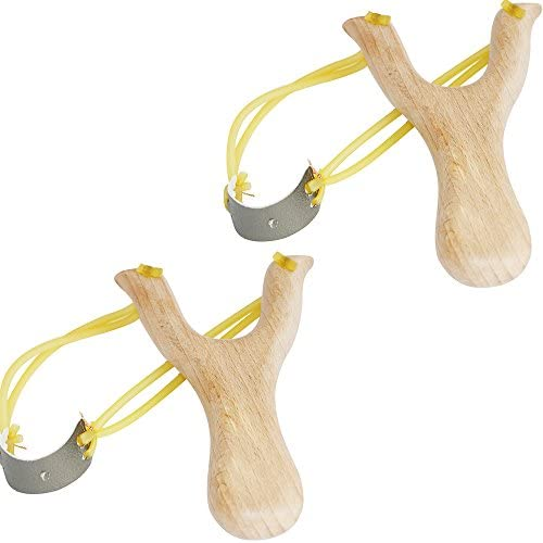 Xelue FF 2 Pack Retro Classic Powerful Durable Solid Wooden Slingshot for Kids Catapult Game product image