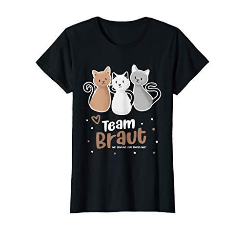 Damen Team Braut JGA Junggesellenabschied Katze Hochzeit T-Shirt