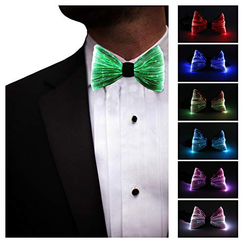 LED Light up Bow Tie 7 Colors Luminous Adjustable Bowtie for Wedding Party Gift Birthday Raves Costume Festival Fun EDM, Gray