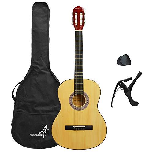 3rd Avenue Rocket XF Serie Guitarra española clásica, color natural, tamaño...