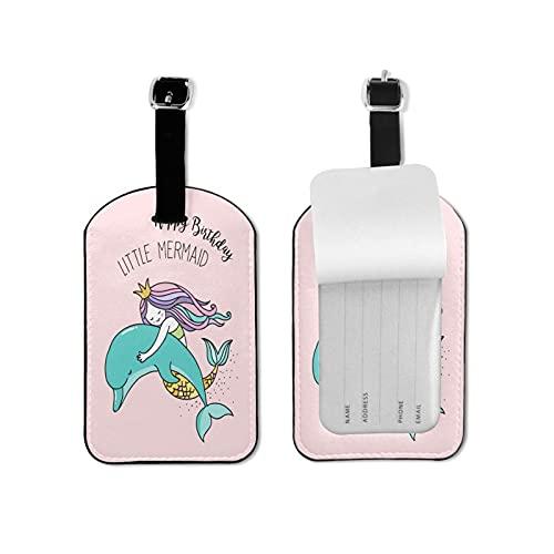 Tvuirw Linda sirena delfín etiqueta de equipaje de microfibra pu cuero sintético etiqueta de equipaje unisex universal de viaje con lindo pequeño equipaje etiqueta