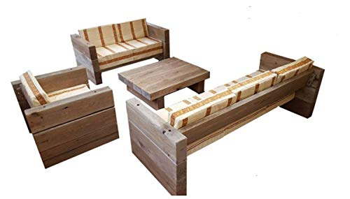 Casa Padrino Garten Möbel Set Eiche Massiv - schwere Ausführung - 3er, 2er, 1x + Tisch - Massivholz rustikal - Lounge Set, Farbe:Kissenbezug Khaki