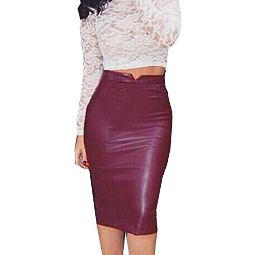 iYYVV Women PU Leather Skirt High Waist Slim Party Pencil Bodycon Hip Skirt Red