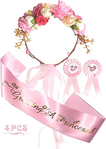 Baby Shower Decoration for Girl, Mother To Be Flower Crown, It's a Girl,Growing a Princess Sash and Mommy to be Pin, Dad To Be Pin, Pink Baby Shower Party Favors Decorations Gift, Mother to be Sash