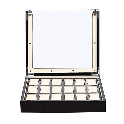 Uhrenbox Uhren-Display Memory Slot Holzabdeckung Glasrahmen 18 Schwarz für Aufbewahrung und Display, holz, Schwarz , 39.5x34x10cm