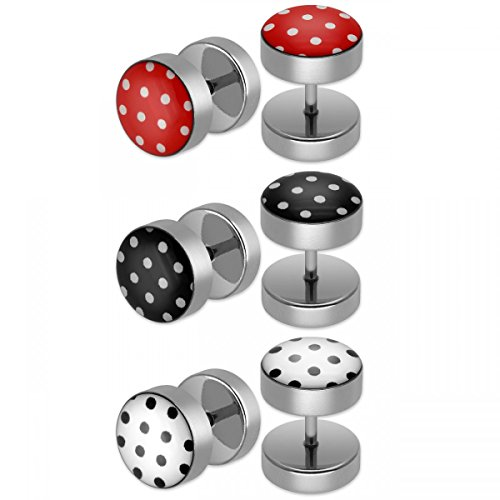 SoulCats® 3er Set Polka Dots Ohrstecker/Fake Plugs aus Edelstahl in weiß schwarz und rot